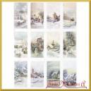 Papier ryżowy A4 R1498 pejzaż zimowy domki prostokąt
