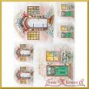 Papier ryżowy A4 R1505 drzwi świąteczne wianek