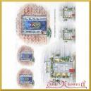 Papier ryżowy A4 R1506 drzwi świąteczne choinki