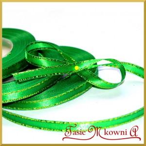 Tasiemka satynowa ze złotą nitka 6 mm zielona