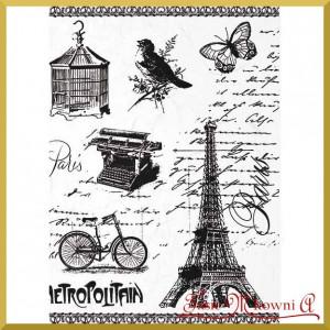 Papier ryżowy A4 R1512 wieża elfia, rower, klatka