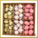 NATURALNE jajka nakrapiane 3 kolory (jasne różowe ciemne różowe naturalne) pudełko 72szt.