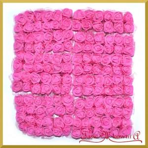 AMARANTOWE różyczki z pianki z TIULEM 2cm 144zt. ZESTAW