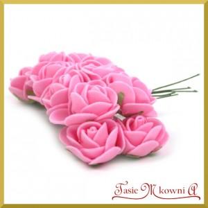 RÓŻOWE CIEMNE różyczki z pianki 2,5cm 12szt.