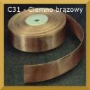 Tasiemka satynowa 25mm kolor C31 ciemno brązowa