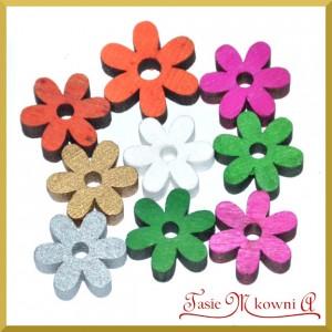 Kwiatuszki drewniane mix kolorów 7szt.