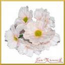 Bukiecik OZDOBNY duże kwiatki materiałowe JASNY RÓŻ drucik 5cm/6szt.
