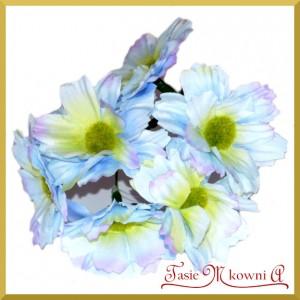 Bukiecik OZDOBNY duże kwiatki materiałowe NIEBIESKIE drucik 5cm/6szt.