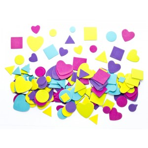 Naklejki z pianki kształty - kwadraty trójkąty serca 200szt.