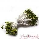 Perełki na sznurku - pręciki ryżyki OLIWKA 3mm/100szt.