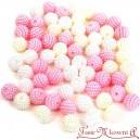 Koraliki perłowe jeżynki 10mm  60 szt. mix BIAŁE ECRU JASNY RÓŻ