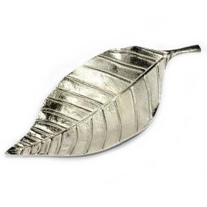 Liść metalowy srebrny – baza do kompozycji kwiatowych 27cm