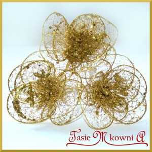 Kwiat złoty ażurowy