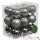 Bombki szklane matowo-błyszczące grafit BOX 3cm/18szt.