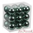 Bombki szklane matowo-błyszczące ciemne zielone BOX 3cm/18szt.