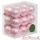 Bombki szklane pudrowy roż BOX 3cm/18szt.