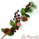 Gałązka z igliwiem dzika róża + jabłko + szyszki DŁUGA 65cm