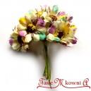 Bratek materiałowy BIAŁO-FIOLETOWO-ŻÓŁTY - materiałowe kwiatuszki 6szt.