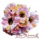 Bratek materiałowy BIAŁO-RÓŻOWO-ŻÓŁTY - materiałowe kwiatuszki 6szt.