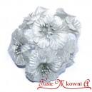 Hibiskus SREBRNY metalizowany - materiałowe kwiatuszki 6szt.