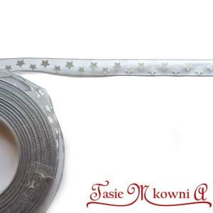 Tasiemka SZYFONOWA srebrna w gwiazdki 10mm/20mb