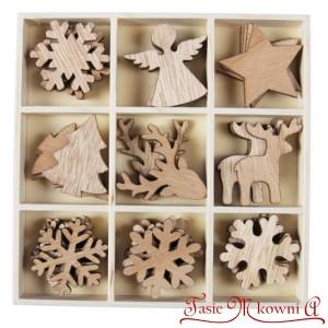 Zestaw drewienek bożonarodzeniowych - NATURALNE mini ozdoby 36szt.