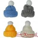 Wełniane czapeczki mini z pomponem 4szt.
