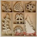 Zestaw I drewienek bożonarodzeniowych MINI - 7 wzorów 40szt.