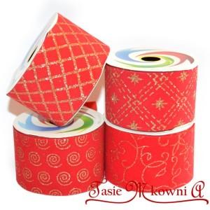Wstążka czerwona welurowa motyw świąteczny 50mm/2,7mb