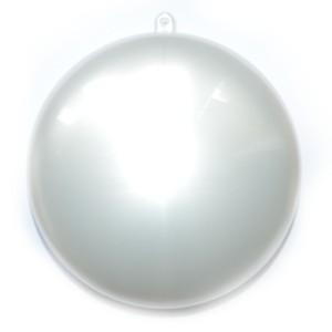 Bombka płaska Medalion perłowa biały 11cm