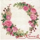 Serwetka do decoupage wianuszek z różowych róż 1 SZT.