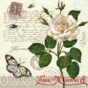 Serwetka do decoupage  białą róża i czarny motyl jaskółeczki 1 SZT.