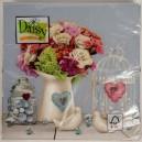 Serwetka do decoupage bukiet kwiatów porcelanowe gołąbki 1 SZT.