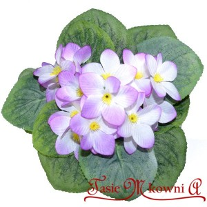Fiołki biało fioletowe bukiecik 20cm