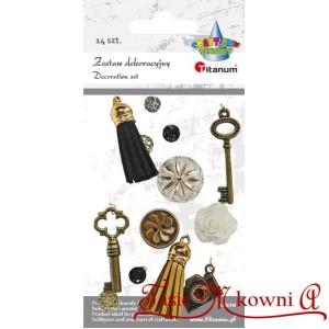 Zestaw dekoracyjny KLUCZ, CHWOST, GUZIKI, DŻETY- 14 sztuk