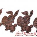 Aplikacje ZAJĄCZEK Z PISANKĄ  czekoladowy 3cm 0,5mb