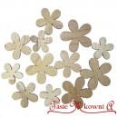 Kwiatuszki drewniane naturalne 12 szt mix rozmiaru