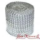 Taśma diamentowa srebrne serduszka  10,5cm/0,5mb