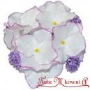 HORTENSJA satynowa BIAŁA fioletowy brzeg bukiet 8 kwiatów