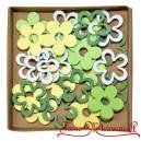Kwiatki drewniane zielono żółte białe 24 szt