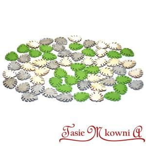 Liście monstera drewniane zielono bielone szare 60 szt