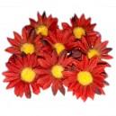 Kwiatuszki materiałowe margarytki DUŻE bordowe 4,5cm