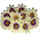 Kwiatuszki materiałowe stokrotki 3,5 cm - KREMOWO-FIOLETOWE