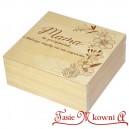 Drewniane pudełko z grawerem na Dzień Matki, wzór nr 4, kwadrat