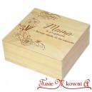 Drewniane pudełko z grawerem na Dzień Matki, wzór nr 4, kwadrat, lakierowane
