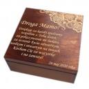 Drewniane pudełko z grawerem na Dzień Matki, wzór nr 1, kwadrat, lakierowane i bejcowane