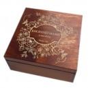 Drewniane pudełko z grawerem na Dzień Matki, wzór nr 2, kwadrat, lakierowane i bejcowane