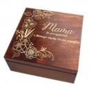 Drewniane pudełko z grawerem na Dzień Matki, wzór nr 4, kwadrat, lakierowane i bejcowane