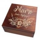 Drewniane pudełko z grawerem na Dzień Matki, wzór nr 6, kwadrat, lakierowane i bejcowane