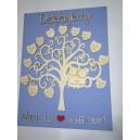 Drzewko podziękowanie dla nauczycieli SÓWKI ze sklejki, tło niebieskie